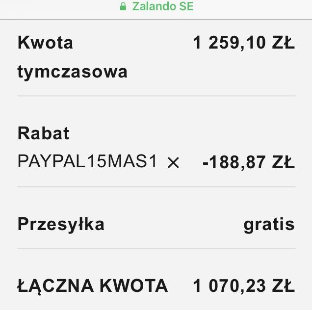 Kupon na 15% w Zalando przy płatności PayPal.