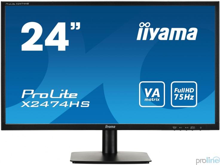 "Proline - iiyama ProLite X2474HS-B1 23.6"" FullHD 1920x1080 LED VA 4ms Black - z gwarancją iiyama - zero martwych pikseli 30 dni"