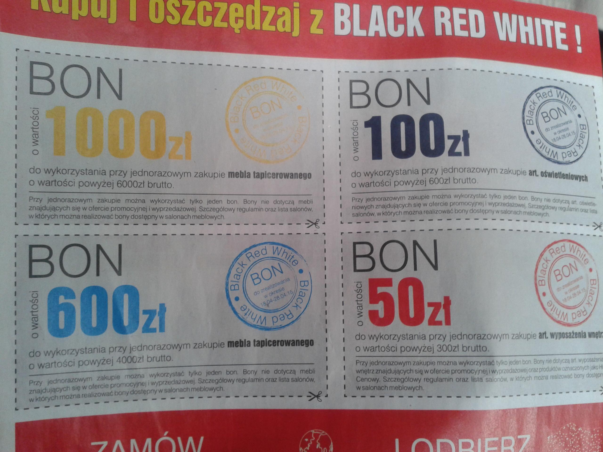 Bony rabatowe o wartości 50zł-1000zł @ Black Red White