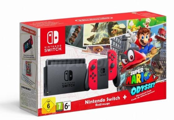 Nintendo Switch Red + Super Mario Odyssey | BUNDLE
