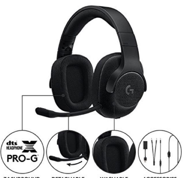 Logitech G433, przewodowe słuchawki dla graczy, 7.1 Surround Sound, do komputerów PC, Xbox One, PS4, Switch, telefonów komórkowych, czarny
