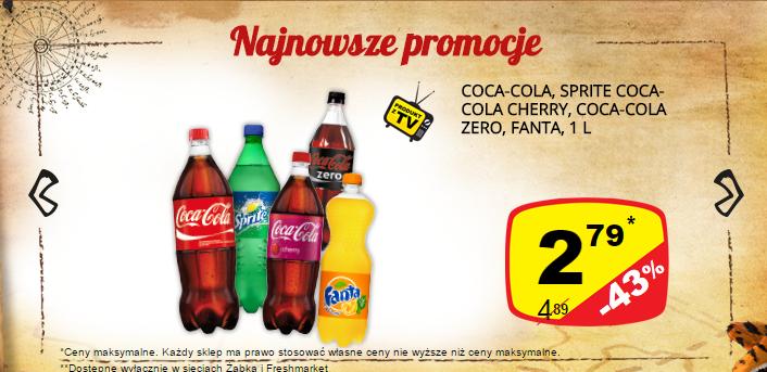 Coca-Cola (Zero, Cherry), Fanta, Sprite 1L za 2,79zł @ Żabka/Freshmarket