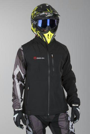 Stylowa kurtka z praktycznego materiału softshell sygnowana logotypami 24MX!