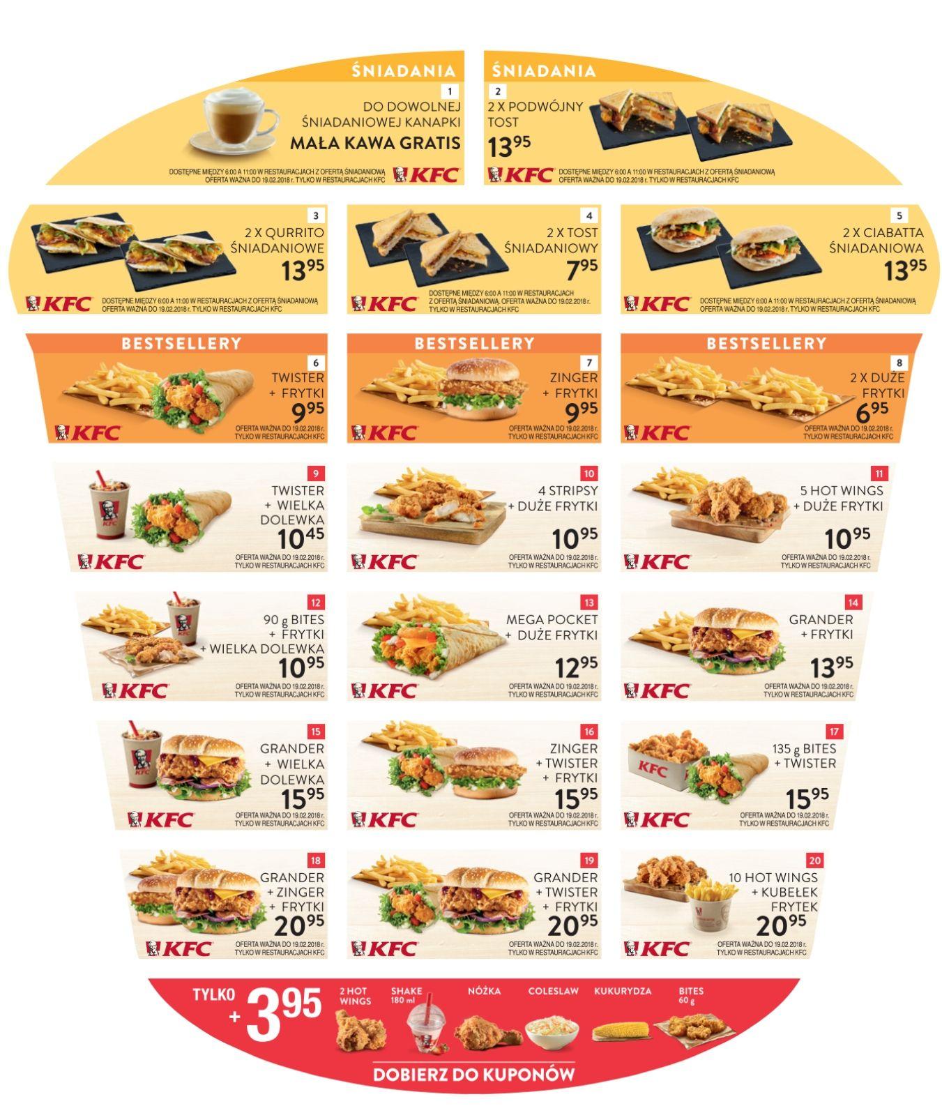 NOWE kupony KFC - kawa gratis
