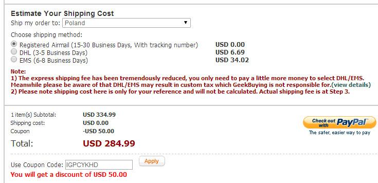 Do 50$ ZNIŻKI z kodem rabatowym od PayPal @ GeekBuying