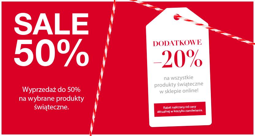 H&U - 50% na wybrane produkty świąteczne. Dodatkowe - 20% na zakupy w sklepie online.