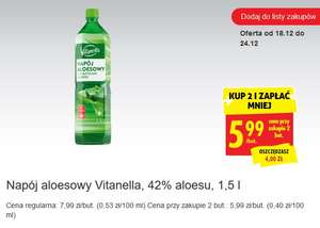 Napój aloesowy Vitanella z cząstkami aloesu, 42% aloesu, 1,5 l @ Biedronka
