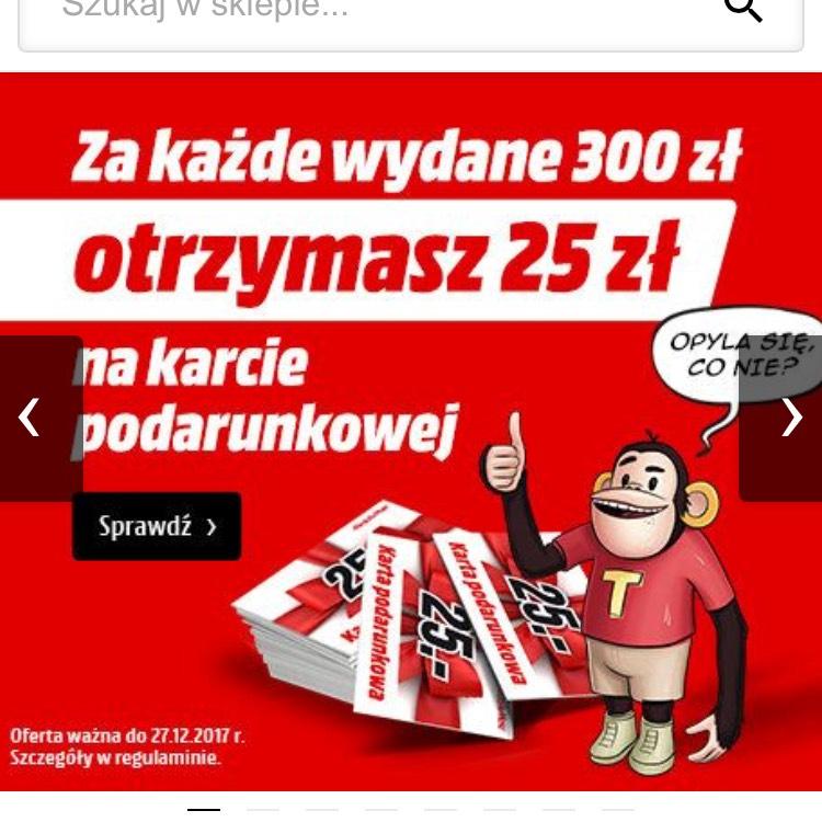 Media Markt - 25zł za wydanie 300zł