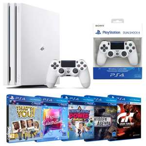 Sony Playstation 4 PRO + 2 PADy + 5 gier (GT Sport, That's You, Knowledge is Power, Hidden Agenda + Singstar Cel)