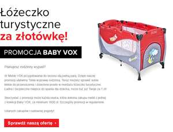 Łóżeczko turystyczne za 1zł przy zakupie mebli dziecięcych @ Vox