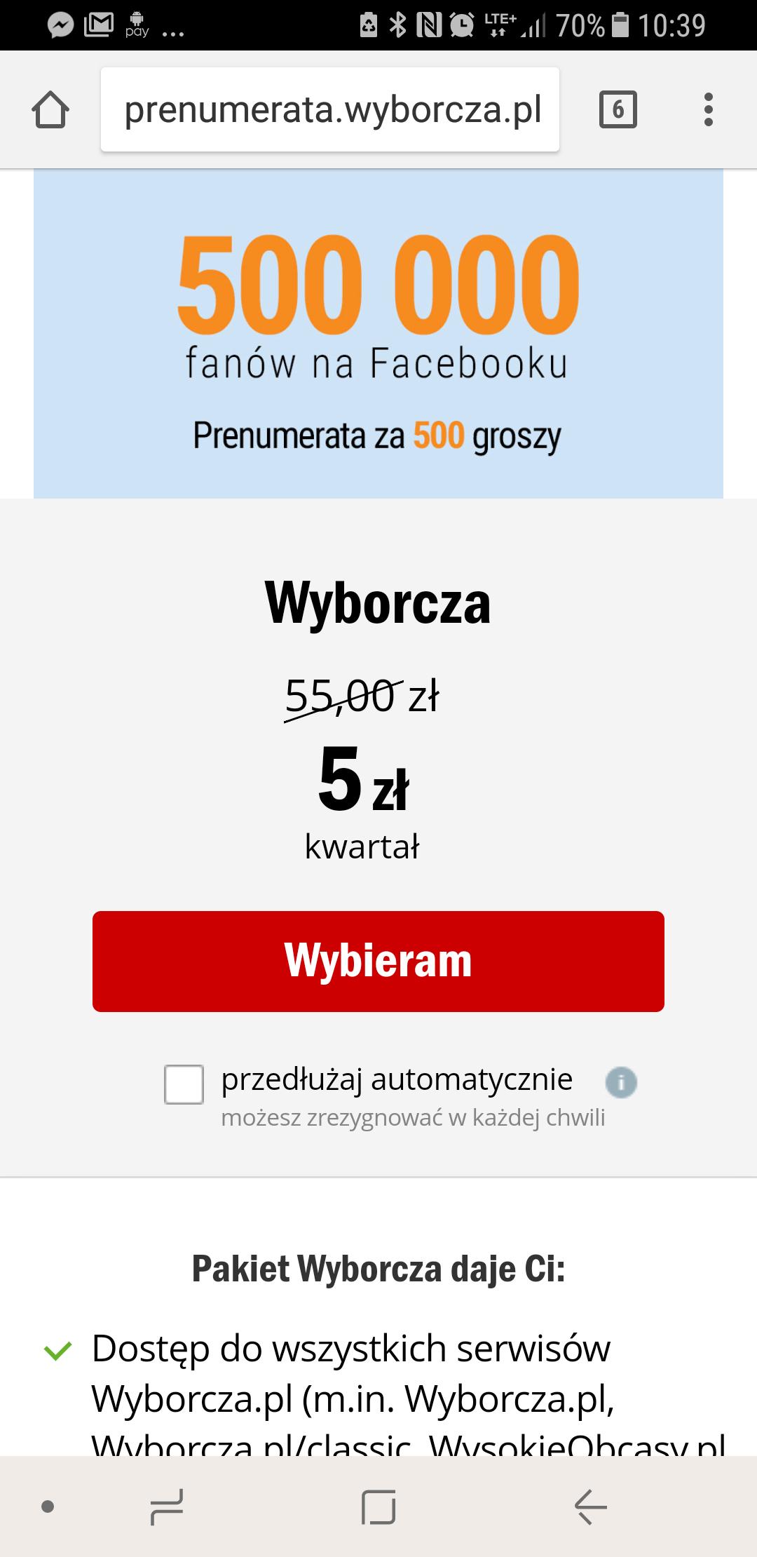 Wyborcza  online 93 dni za 5 zł