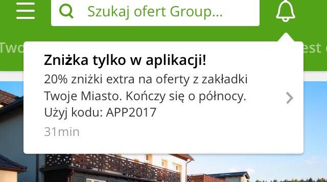 Groupon 20% zniżki na oferty z zakładki Twoje Miasto