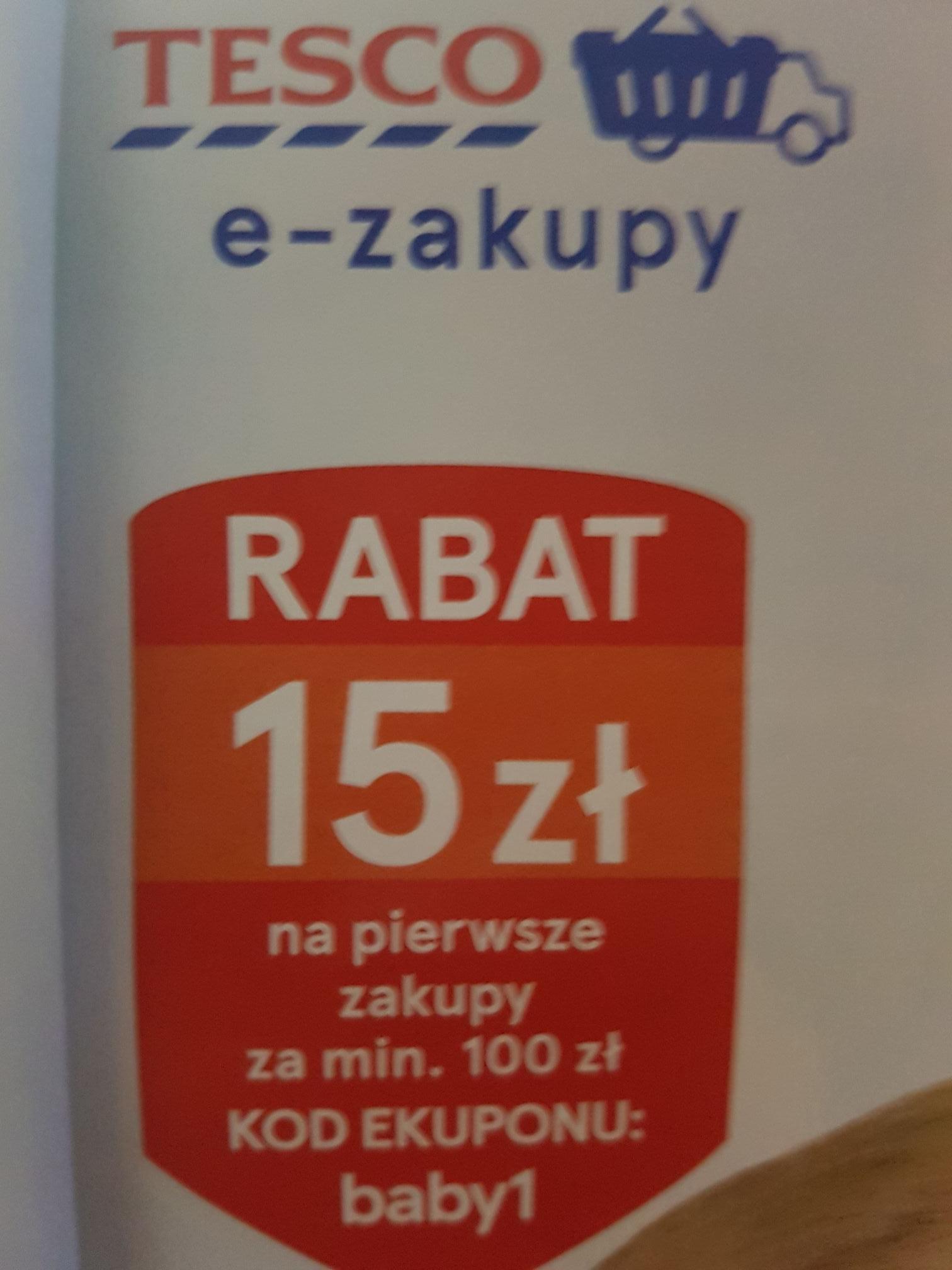 Tesco rabat -15zł na pierwsze e-zakupy (mwz 100zł). Jest to moja pierwzza wrzutka, pozdrawiam :-)