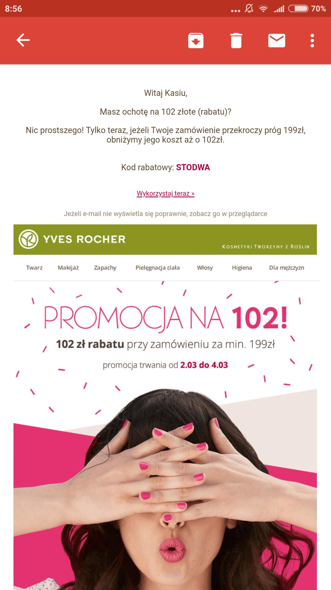 102 zl na zakupy yves rocher + 3PREZENTY
