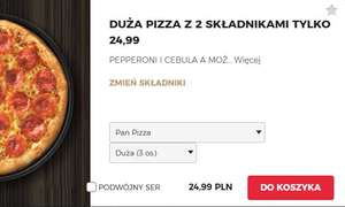 Duża pizza z dwoma składnikami w dostawie. (darmowa dostawa od 29zł)