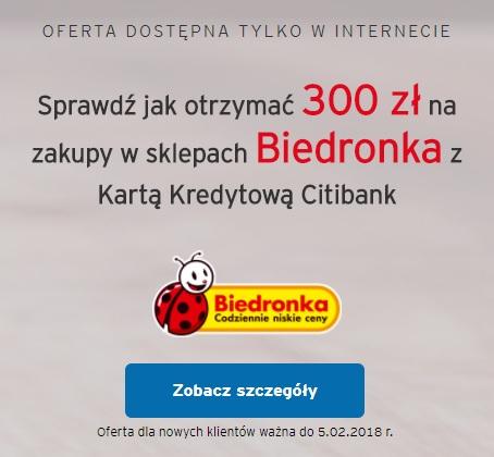 300 zł Bon do sklepów Biedronka Karta Kredytowa @Citibank