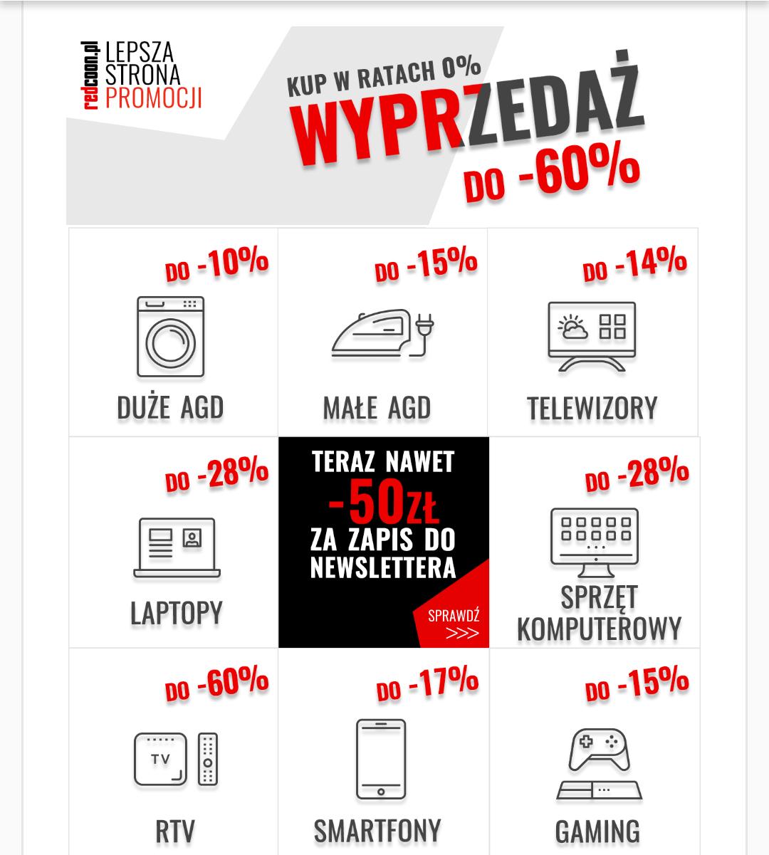 Wielka wyprzedaż! Redcoon.pl Taniej nawet o 60% i raty 0%