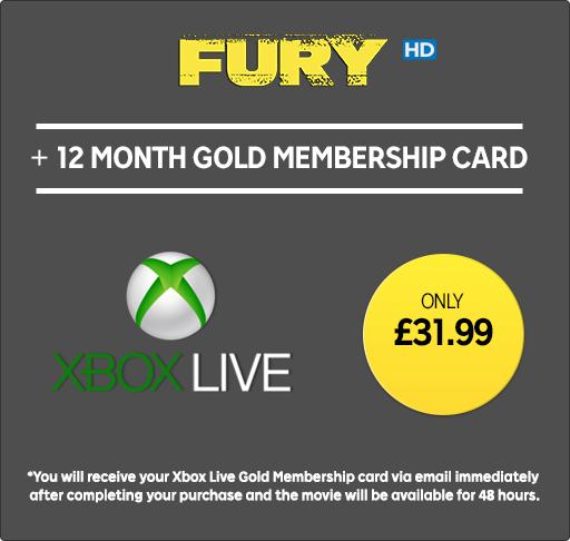 Xbox Live Gold 12 miesięcy £31,99 + film Furia 2014 VOD 48h
