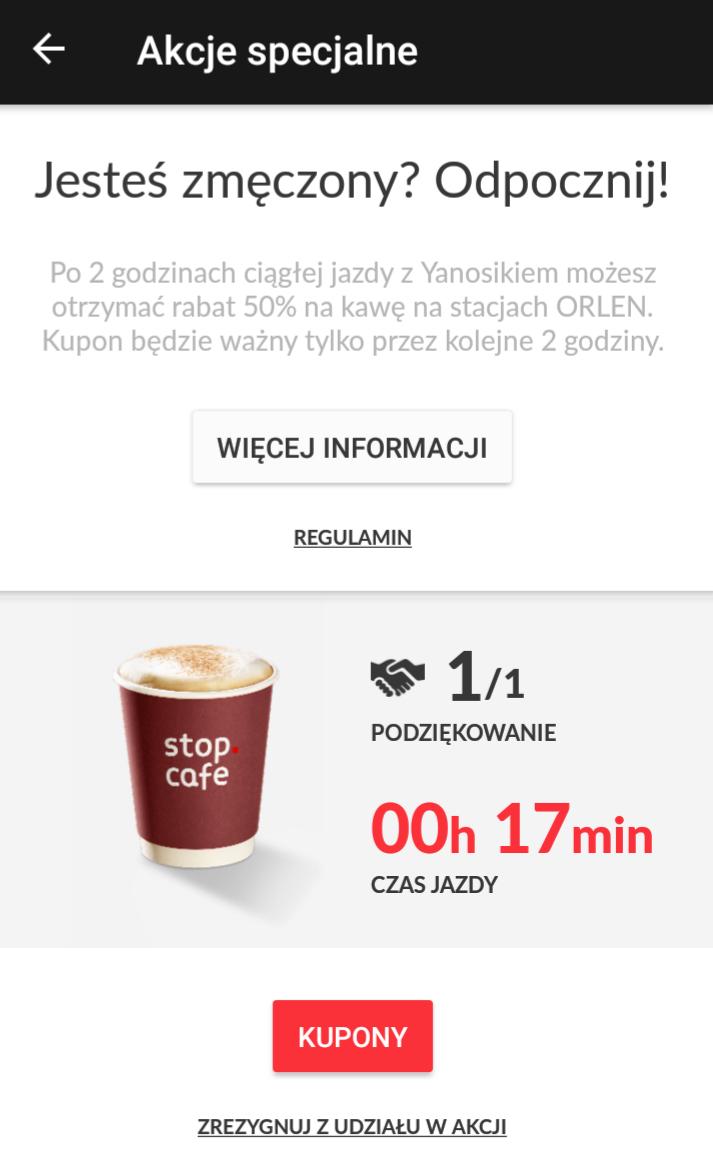 Kawa na Orlen 50% za 2h z Yanosik