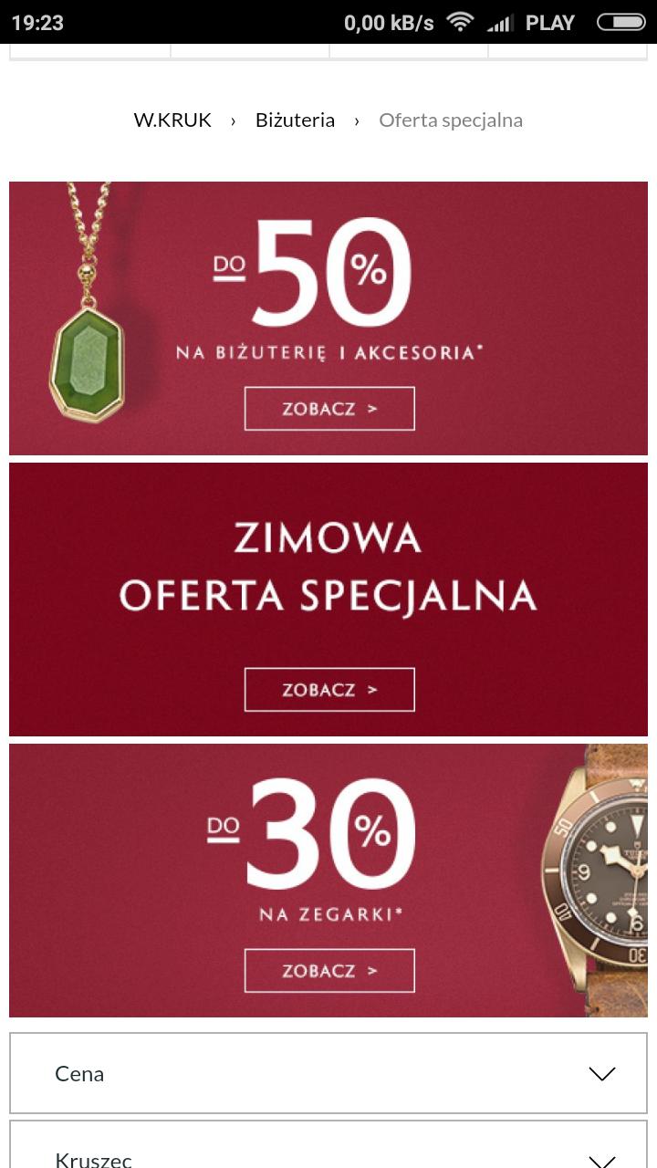 Zimowa Oferta Specjalna (do -50% na biżuterię i akcesoria, do -30% na zegarki)