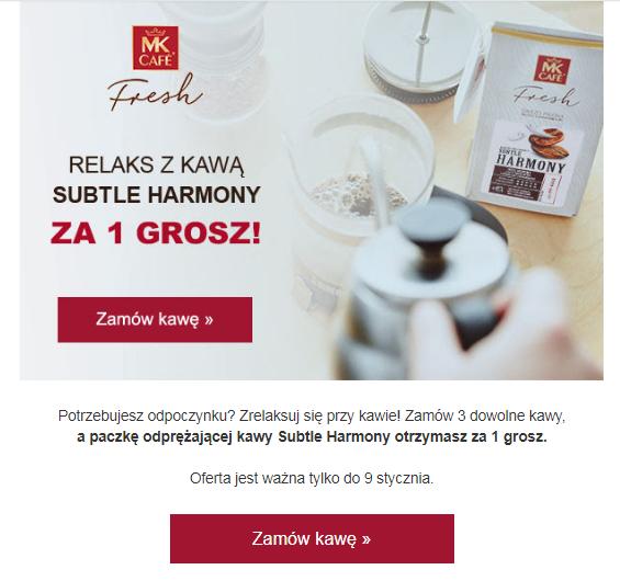 Kawa Subtle Harmony za 1gr przy zakupie 3 kaw + kod -20zł MWZ 80zł