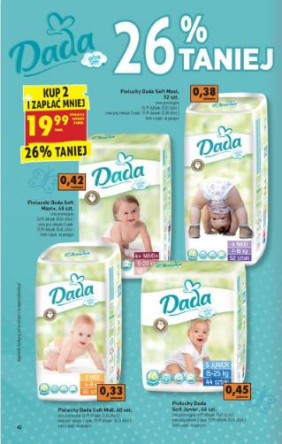 Pieluszki Dada Soft - 19,99zł z paczkę (przy zakupie 2 opakowań) @ Biedronka
