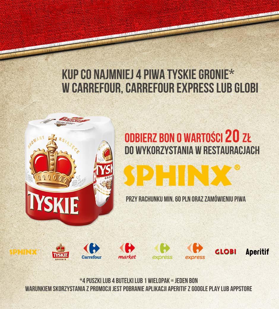 Bon o wartości 20zł do wykorzystania w Sphinx przy zakupie 4xTyskie @ Carrefour/Globi/Sphinx