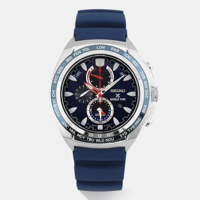 Zegarek szafirowy solarny - Seiko Prospex World Time Chronograph SSC489, SSC485 lub SSC487