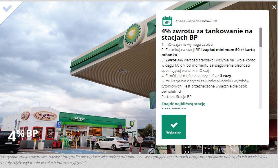 [mBank] 3-4% zwrotu za tankowanie na stacjach BP