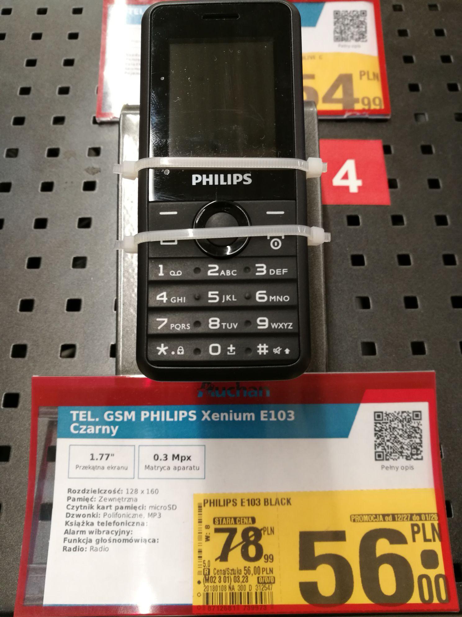 Philips e103 auchan gdynia - tani  prosty telefon