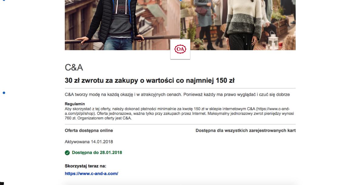 C&A 30 zł zwrotu za zakupy o wartości co najmniej 150 zł - Visa oferty