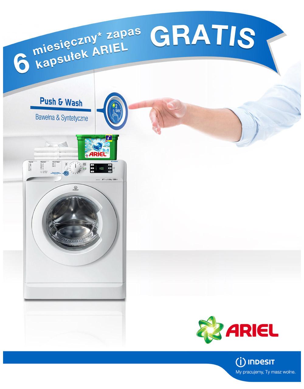 6-miesięczny zapas kapsułek ARIEL przy zakupie pralki Indesit @ Avans
