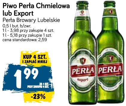 4x piwo Perła Chmielowa lub Export w butelce bezzwrotnej (1,99 zł za jedno) @ POLOmarket
