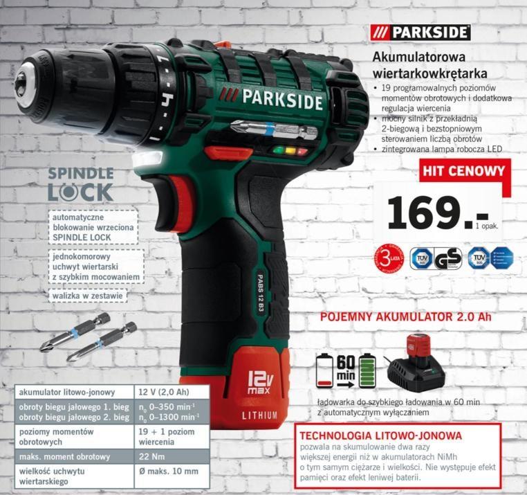 PARKSIDE akumulatorowa wiertarowkrętarka - LIDL od 22.01