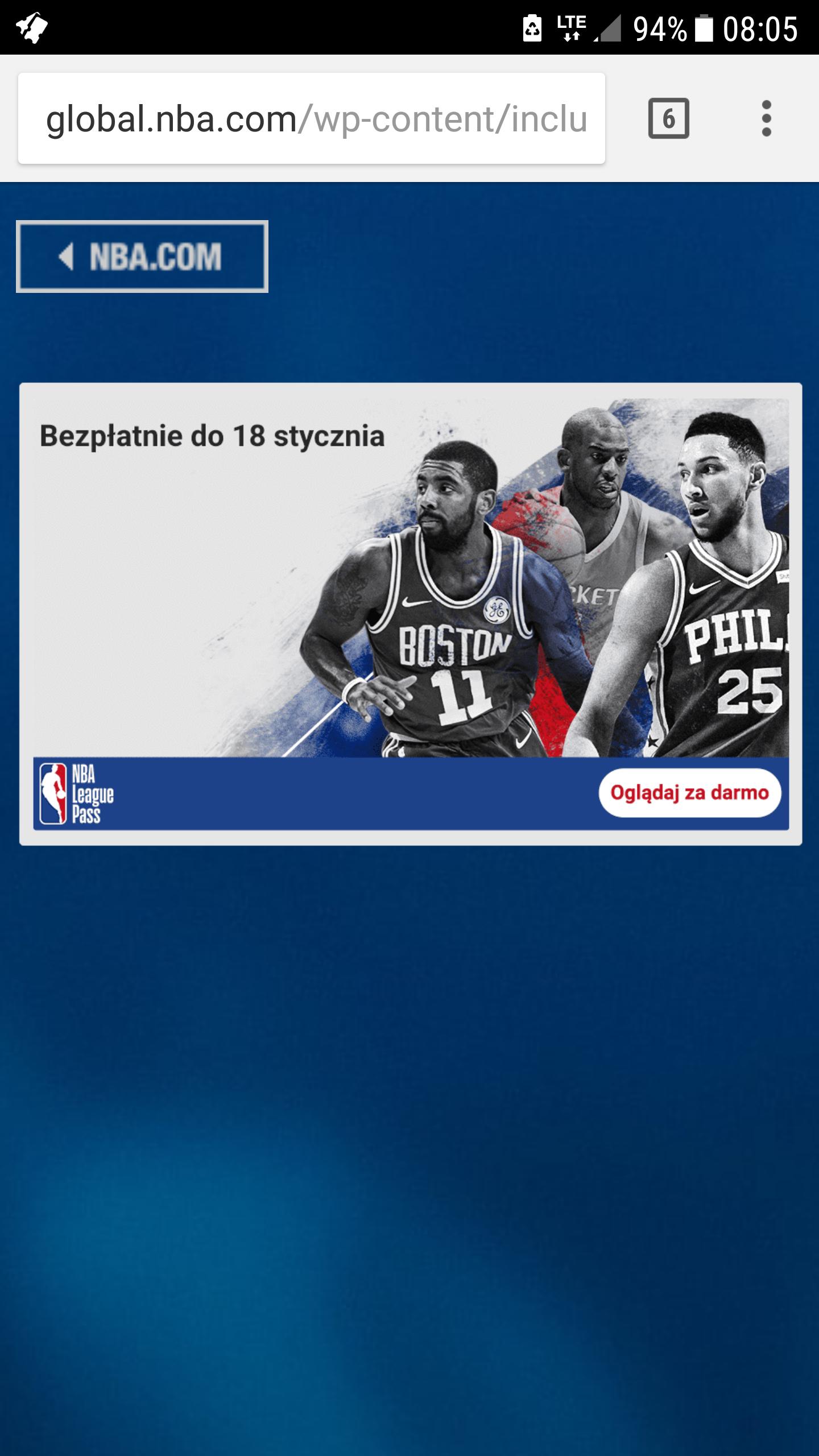 NBA League Pass za darmo - 10 meczów na żywo, tzn. online ;)