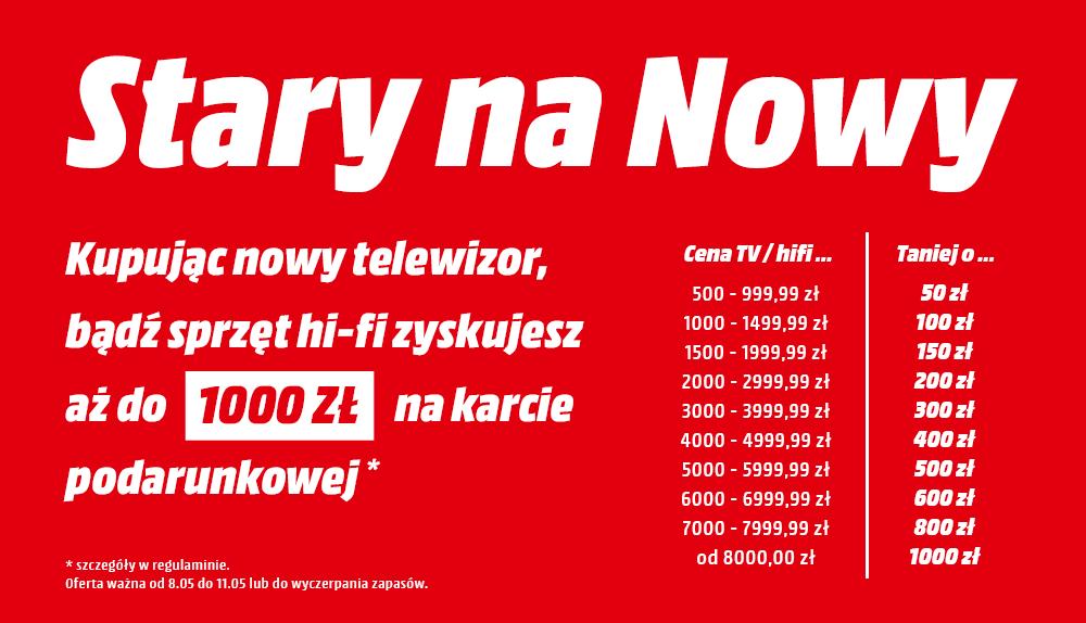 Nawet 1000zł na karcie podarunkowej za zakup telewizorów oraz sprzętu hifi @ Mediamarkt