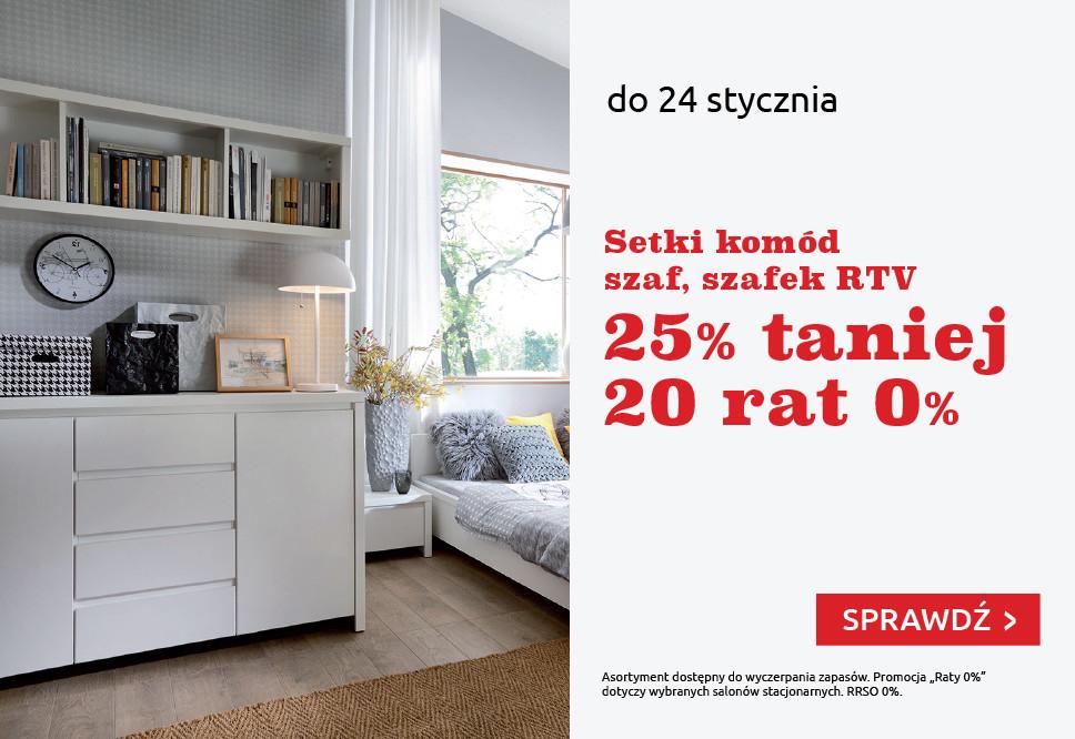 25% rabatu na komody, szafy i szafki rtv + 20 rat 0% @ Black Red White