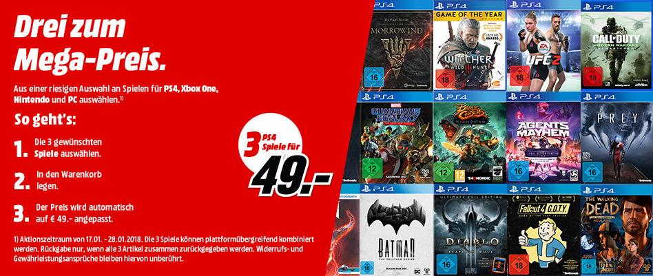 MediaMarkt DE Gry PS4 XONE Nintendo 3 GRY w cenie - 49€ lub 3 w cenie - 79€