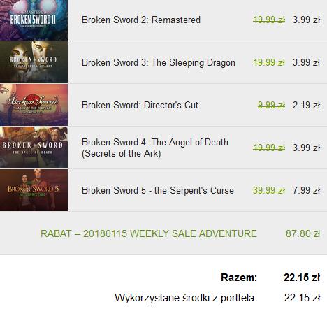 Broken Sword (cała seria) -80% GOG