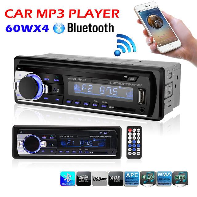 Radio samochodowe JSD-520 z bluetooth + zestaw głośnomówiący + USB MP3 + pilot