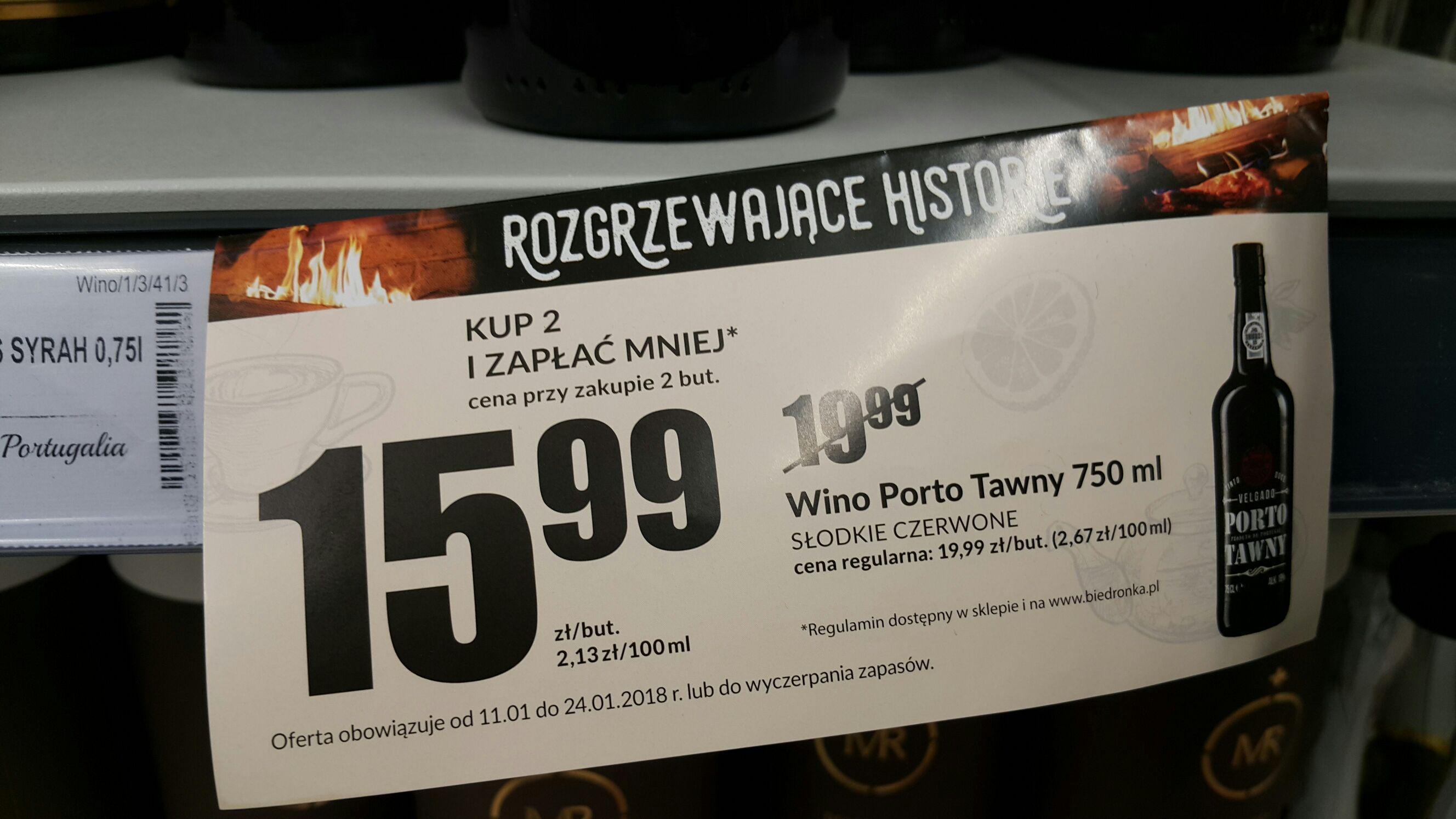 Porto Tawny w Biedronce, 15,99zl zamiast 19,99zl przy zakupie dwóch butelek