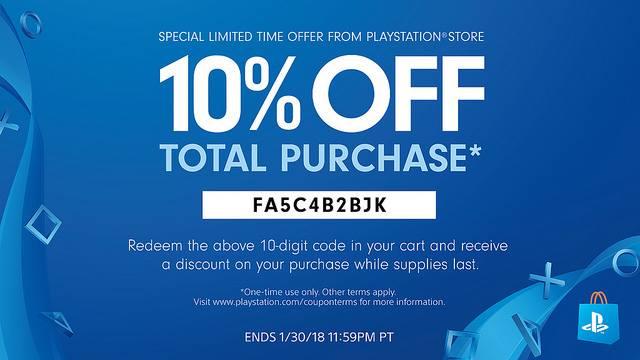 Zniżka na 10% na zakupy w PSN do 30.01 @ PSStore (USA)
