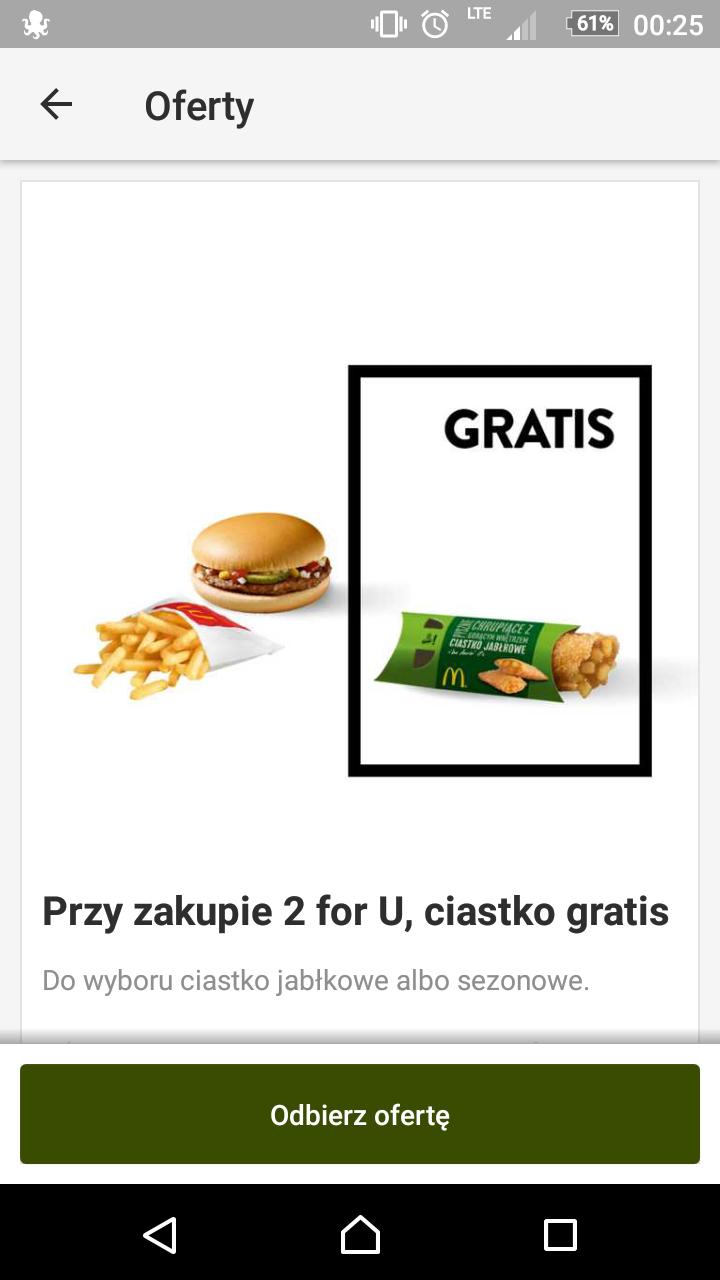 McDonald's: Darmowe ciastko do zestawu 2 for U