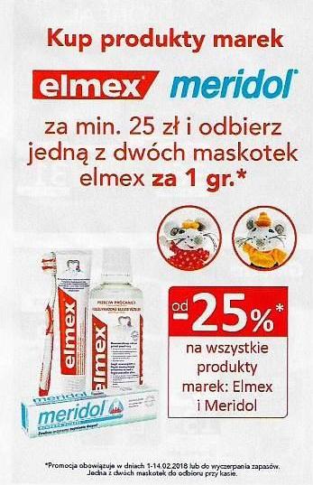 Maskotka za 1 grosz przy zakupie produktów Elmex lub Meridol za 25zł @ Natura