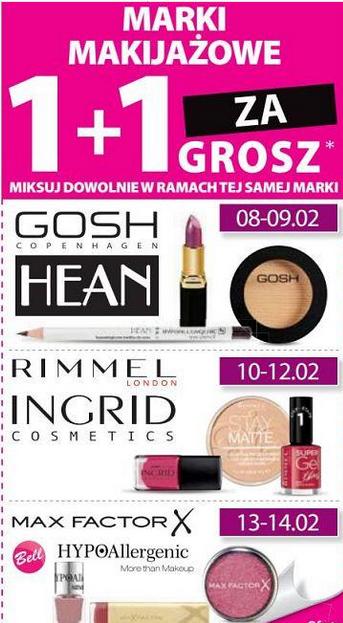 [Od 8.02] Kosmetyki do makijażu 1+1 za grosz oraz -50% na Bielendę @ Hebe