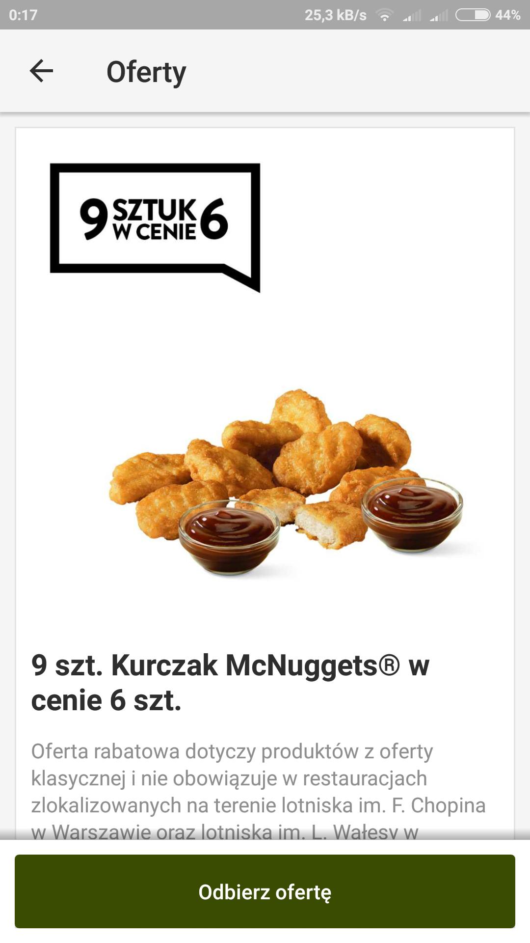 McDonald's 9 sztuk kurczak mc nuggets w cenie 6