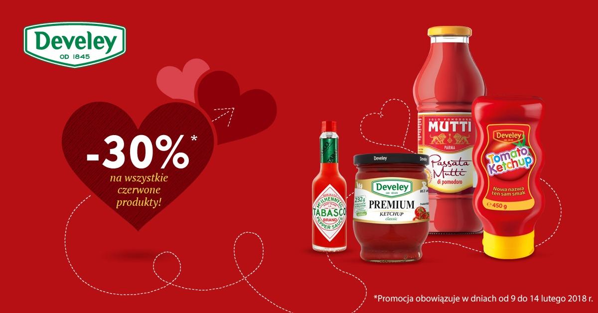 9-14.02 30% zniżki na wszystkie czerwone produkty w Develey (Walentynki)