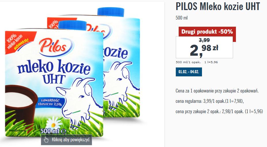 2x mleko kozie UHT Pilos 500ml (zaw. tłuszczu 2,5%) = 2,98 zł za jedno @ Lidl