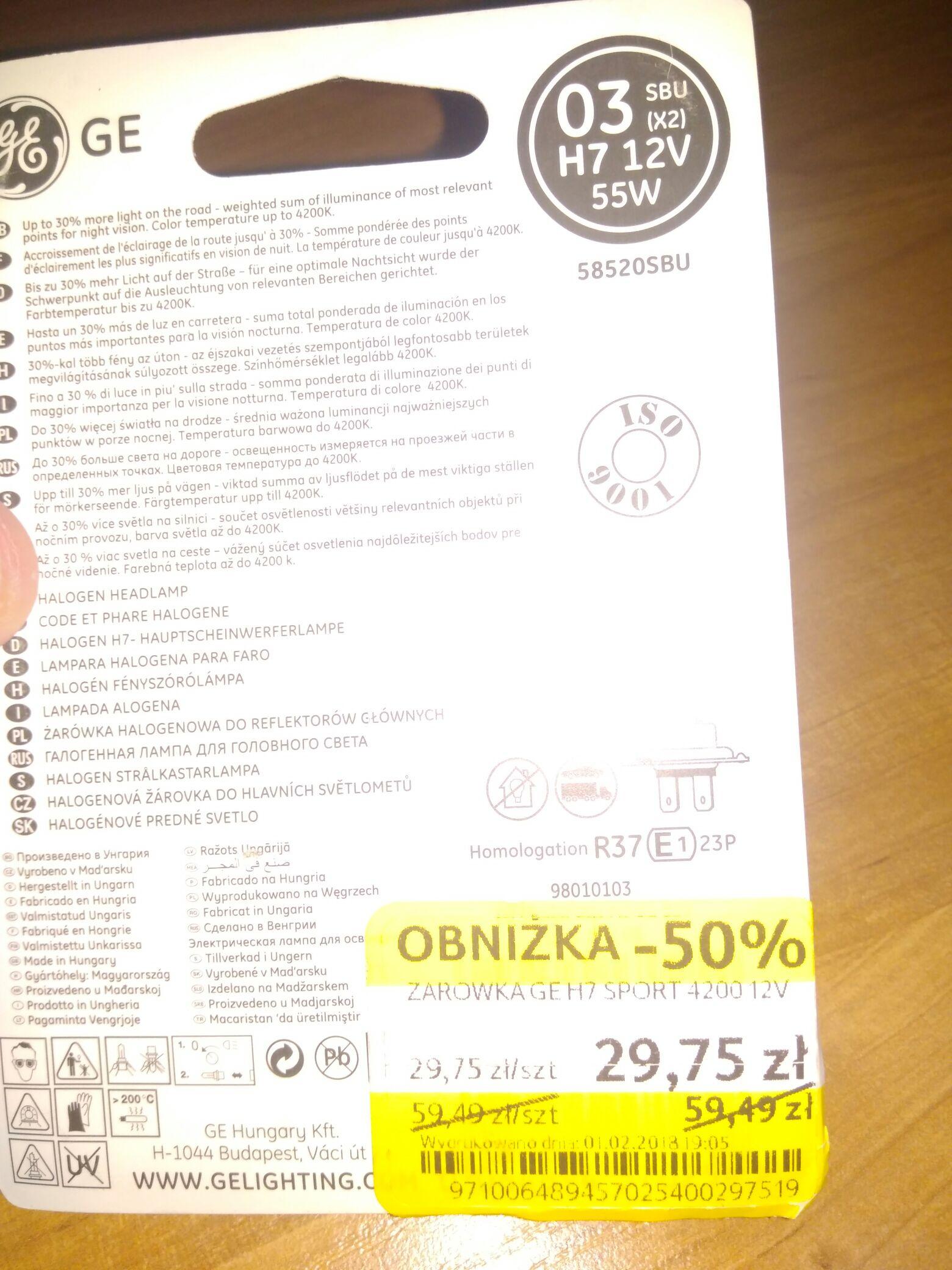Żarówki(2 sztuki) H7 GE Sportlight Ultra 4200K w Tesco
