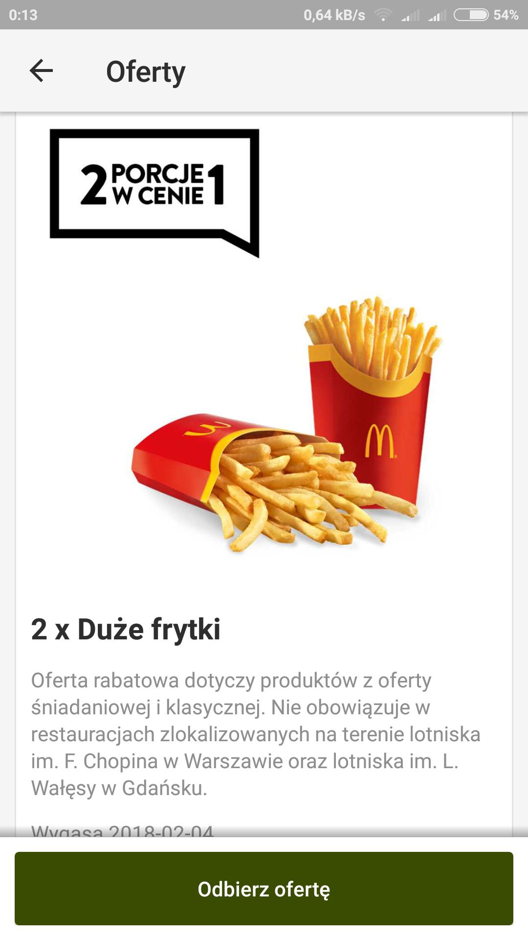 McDonald's 2x duze frytki w cenie 1